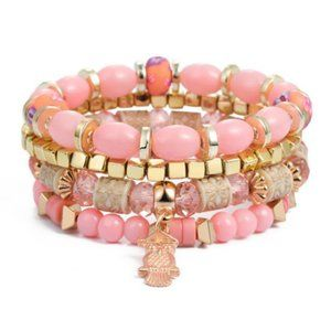 Pink Bohemia multi bracelet with the owl charm (scratch)
